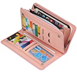 Women's Long PU Leather Wallet with Credit Card Holders Money Organizer Zipper Purse Wristlet HnadbagHandbag (A Pink)