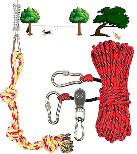 Dog Tie Out Cable for Camping - 50ft Heavy Duty Overhead Trolley...