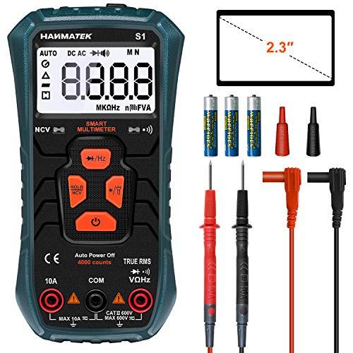 HANMATEK Multimetro Automatico, S1 Multimetro Digitale Avanzato TRMS con 4000 Punti, Misura AC/DC Current Voltage Resistance Frequenza Diodi NCV ECC, Display Retroilluminato