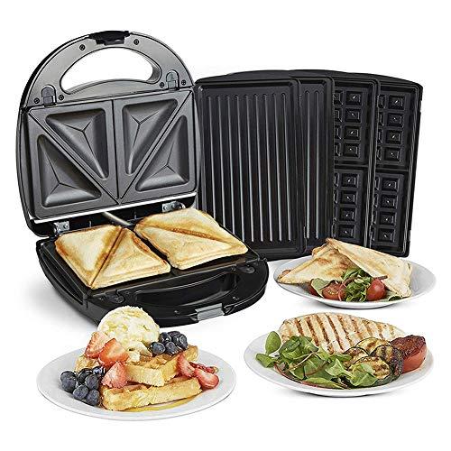 Sandwichmaker, 3 in 1 ZRSA Multi Sandwichmaker + Waffeleisen + Kontaktgrill mit 3 Wechselplatten mit 3 austauschbaren Aluminiumgrill Antihaftplatten/Grill für Toasties/Panini