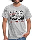 Frangin Super Héros Cadeau Frère T-Shirt Homme, L, Gris chiné