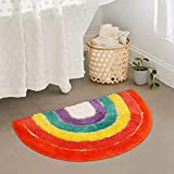 LIVEBOX Kids Play Rug, Rainbow Area Rug 20 x 32inch Personalized Bath Rug Soft Plush Non-Slip Childrens Carpet Throw Rug for Living Room Bathroom Playroom Nursery Decor Best Shower Gift