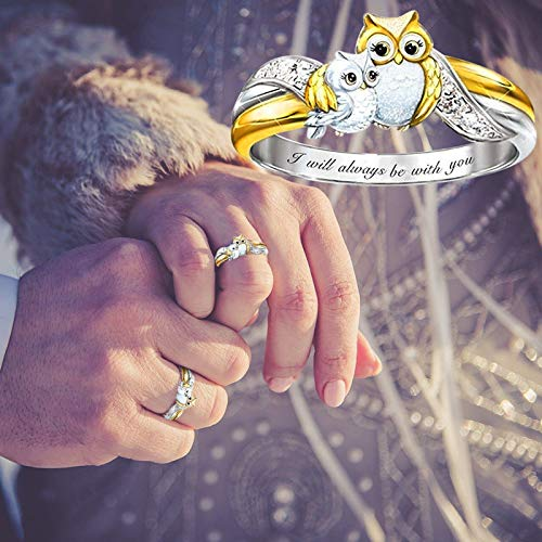 Fashion Cute Owl Rings Animal Women Wedding Engagement Party Jewelry Birthday Gifts for Women Girls (5)
