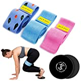Fabric Resistance Bands Set for Legs and Butt, 4 Pack Booty Bands,Exercise Bands,Workout Bands,Home Gym Workout Equipment with Core Sliders (with Core Sliders - Secret Garden Resistance Bands)