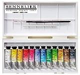 Sennelier Boîte de Peinture Aquarelle en Plastique, 12 Couleur x 10ml avec...