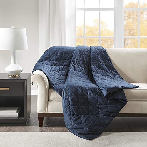 Beautyrest Deluxe, Ogee Quilted 100% Cotton, Glass Beads Filling, And Removable Cover Weighted Blanket For Adults Anxiety Better Sleep, 60X70-12Lbs, Navy