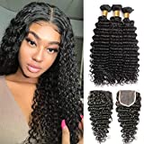 Deep Wave Bundles with Closure (16 18 20+14) 9A+ 100% Unprocessed Brazilian Deep Curly Bundles with 4x4 Lace Closure Free Part Virgin Hair Deep 3 Bundles with Closure Wet and Wavy Hair Natural Color