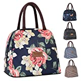 Buringer Reusable Insulated Lunch Bag Cooler Tote Box with Front Pocket Zipper Closure for Woman Man Work Picnic or Travel (Red Flowers)
