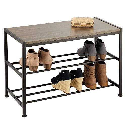 mDesign Estante para Zapatos con 2 Pisos para el Pasillo –...