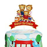 LYNHEVA Glitter Daniel Tiger Happy Cake Topper, Daniel Tiger's Neighborhood Cake Topper, Daniel Tiger Theme Birthday Party Supplies, Kids Bday Favor