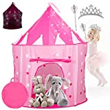 Kiddey Princess Castle Play Tent with Glow in the Dark Stars – with Bonus Tiara and Wand included - Indoor/Outdoor Playhouse for Girls, with Carry Case for Easy Travel and Storage
