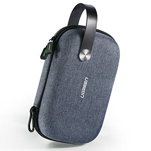 UGREEN Travel Case Gadget Bag Small, Portable Electronics Accessories Organiser Travel Carry Hard Case Cable Tidy Storage Box Pouch with Double Layer, Double Zipper, Snap Hook, Carrying Strap
