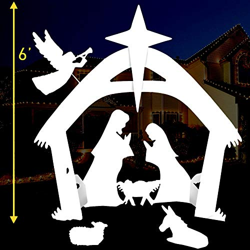 EasyGO Set Outdoor Nativity Christmas Decoration-Outside Yard, 6 Foot Tall