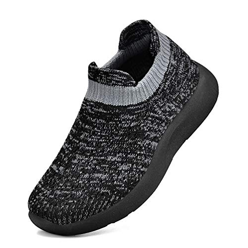 Troadlop Boys Shoes Knitted Tennis Athletic SneakersBlack Gray Size 10 Toddler