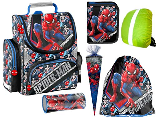 Spider-Man Rucksack Ranzen gefüllt Federmappe Stiftetasche SchultüteTurnbeutel Regenhülle 6Teile Set neu