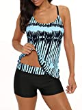 Century Star Tankini Swimsuits for Women Retro Bathing Suits Two Pieces Modest Swimming Wear Sports Tank Tops with Boyshorts 01 Black Blue 14-16