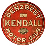 Brotherhood Vintage Gas Sign Reproduction Vintage Metal Signs Round Metal Tin Sign for Garage and Home 8 Inch Diameter – Penzbest Kendall Motor Oils