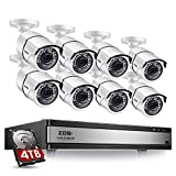 ZOSI H.265+ 1080p Security Camera System 16 Channel, Hybrid DVR with Hard Drive 4TB and 8 x 1080p...