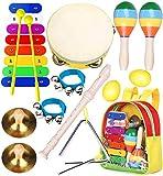 Smarkids juguetes musicales para niños, instrumentos musicales infantiles Juguetes de instrumentos de percusión educativos pandereta xilófono maracas con mochila regalos para bebes niños niñas 3~8 año