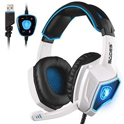 SADES Spirit Wolf 7.1 Surround Stereo Sound USB Computer Gaming Headset with Microphone,Over-the-Ear Noise Isolating,Breathing LED Light For PC Gamers (Black White)
