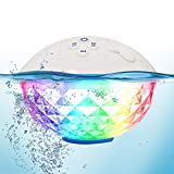 Pool Speaker with Colorful Lights, Portable Bluetooth Speaker IPX7 Waterproof, Floating Pool Speakers with Crystal Clear Stereo Sound Bluetooth Wireless 50ft Range for Pool Shower Beach Outdoors Home.