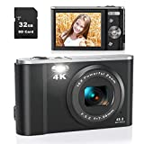 Digital Camera, Lecran 4K 48.0 MP Vlogging Camera with 32GB SD Card, 16X Digital Zoom, LCD Screen, Compact Portable Mini Cameras for Adults, Seniors, Teens, Kids, Students(4K Black)