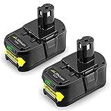 2 X 18V 5,0Ah Topbatt Remplacement pour Ryobi Batterie ONE+ P102 P103 P104 P105 P106 P107 P108 ABP1801 ABP1803 BPL1820 RB18L40 RB18L50 RB18L15 RB18L20 RB18L25
