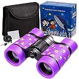 Newraturner Rubber 4x30mm Toy Binoculars for Kids - Waterproof Folding Small Kids Telescope for Bird Watching,Travel, Camping (Purple)