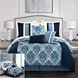 Chic Home BCS11817-AN Phantogram 7 Piece Comforter Set Reversible Two-Tone Damask Pattern Geometric Quilting Bed Skirt Decorative Pillows Shams Included, Queen, Navy