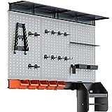 TORACK Pegboard Wall Organizer 4 ft. 48x40 inch Garage Metal Pegboard Organizer Utility Tool Storage Kit with Toolboard Hooks Accessories, Wall Mounted Storage Bins, Paper Towel Holder, Overhead Shelf