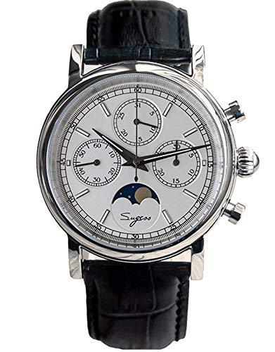 SU1908BSW MoonPhase Master Seagull ST1908 Uhrwerk Saphirkristall Herren Chronograph Mechanische Armbanduhr 1963