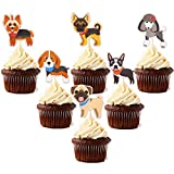 48pcs Puppy Cupcake Toppers Dog Adoption Pet Birthday Party Cake Decoration Supplies