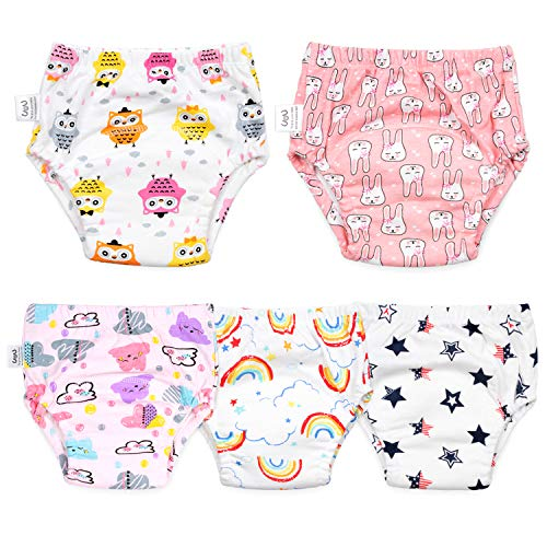 Cotton Training Pants for Baby Boys and Girls,Toddler Boys Girls Potty Training Underwear 5 Pack Pink 3T