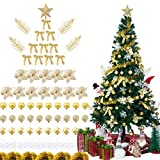 Sunnyglade 94 PCS Christmas Tree Ornaments Set with Glitter Poinsettia, Bows, Ribbons, Leaves & Assorted Decoration Ball for Xmas Tree Holiday Wedding Party Decorations (Golden)