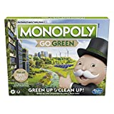 Monopoly: Go Green Edition Game Made with 100% Recycled Paper Parts and Plant-Based Plastic Tokens, Board Game for Families Ages 8 and Up