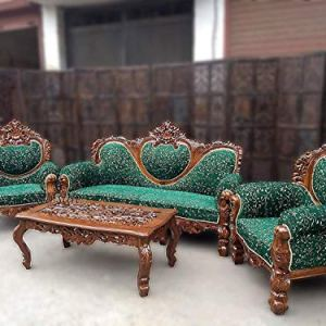 Aarsun Teak Wood 3+1+1 Living Room Maharaja Sofa Set with Center Table