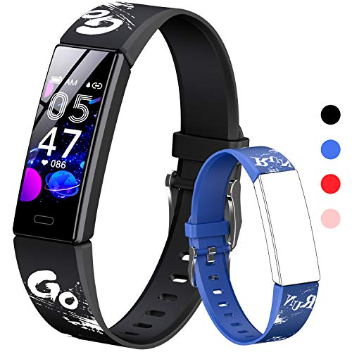 HOFIT Fitness Tracker per Bambini, Orologio Braccialetto con Contapassi, Cardiofrequenzimetro e Monitor Del Sonno, Cronometro, Impermeabile Ip68, Smartwatch, 2 Cinturini, Regalo per Adolescenti (Nero)