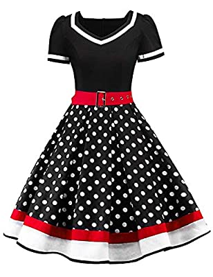 Feature: Square Neck, Fit & Flare Style, Classic Short Sleeve Design, Back Zipper Closure, Short Length with Belt, 1950's Vintage Style Decorated with a Removable Belt, can be matched underskirt or petticoat, will be more elegant, our Petticoat would...
