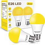 Yellow Led Bug Light Bulbs, 60W Equivalent Outdoor Bug Light Bulbs, A19 Amber Bedroom Night Light Bulb, E26 Edison Medium Base, Non-Dimmable for Home Hallway Porch Lights, Decorative Lamps, 2 Pack