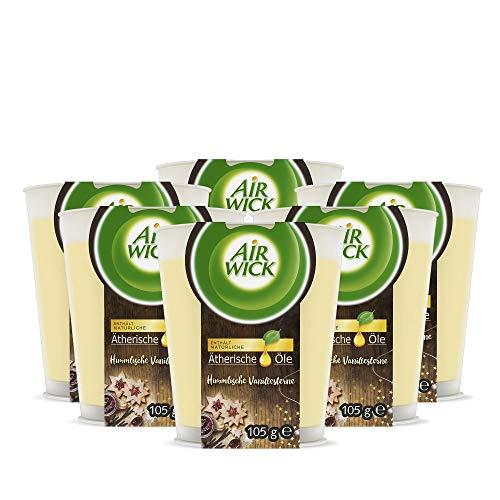 Air Wick Wohlfühl-Duftkerze – Duft: Himmlische Vanillesterne – Enthält natürliche ätherische Öle – 6 x Duftkerze in Weiß