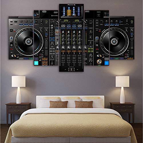 hlonl (Nessuna Cornice) Quadri su Tela Home Decor 5 Pezzi Dj Music Player Dipinti HD Stampe Music Console Poster Soggiorno Modulare Wall Art