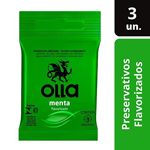 Preservativo Camisinha Olla Sabor Menta - 3 Unidades, Olla, 3un, pacote de 3
