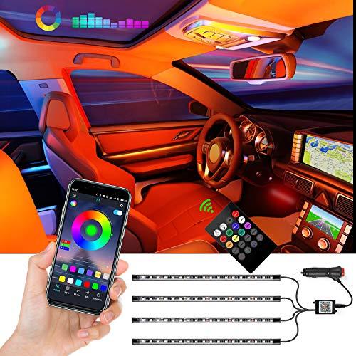 Strisce LED per auto, 4 pezzi a 72 LED, kit di illuminazione controllata da APP, strisce luminose...