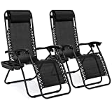 Best Choice Products Set of 2 Adjustable Steel Mesh Zero Gravity Lounge Chair Recliners w/Pillows and Cup Holder Trays, Black