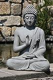 Stone-Lite, Statua decorativa da interni ed esterni, motivo: Buddha nella posizione Vitarka Mudra, altezza: 73 cm, colore: Grigio