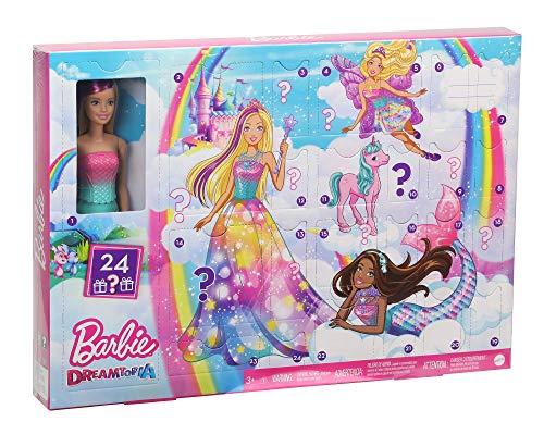 Barbie Dreamtopia - Calendario dell'Avvento 2020, con 24 Sorprese da Scoprire, Bambola Inclusa, Giocattolo per Bambini 3+ Anni, GJB72
