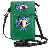 XCNGG Cartera monedero para teléfono celular verde pescado para mujer niña bolsos pequeños para monedero cruzado