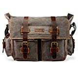 GEARONIC Mens Canvas Leather Messenger Bag for 14' 15' 17' Laptop Vintage Shoulder Crossbody