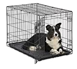 Dog Crate MidWest ICrate 36 Inch Folding Metal Dog Crate w/ Divider Panel Intermediate Dog Breed, Black