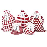 Appleby Lane Fabric Gift Bags (Standard Set, Red) 100% Cotton, Set of 5 Bags: Three 16'x12' and Two 10'x8'